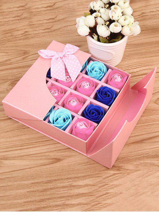 هدية لعيد الأمهات 1 صندوق 16 شبكات وردة صابون اصطناعية - زهري