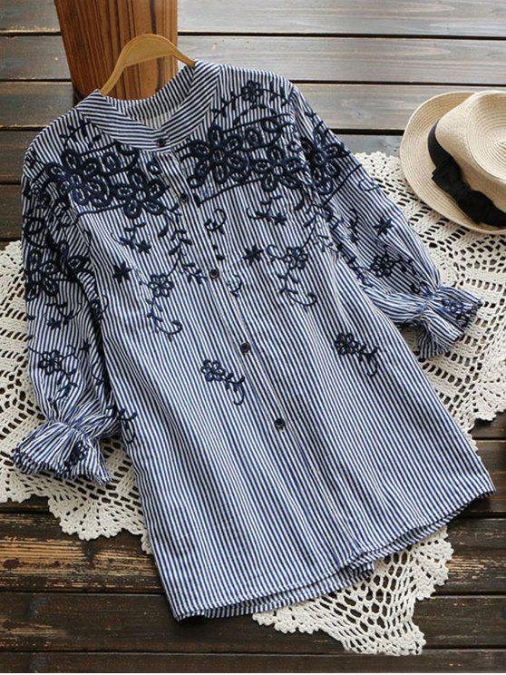 sale Embroidered Puff Sleeve Striped Shirt - BLUE STRIPE M