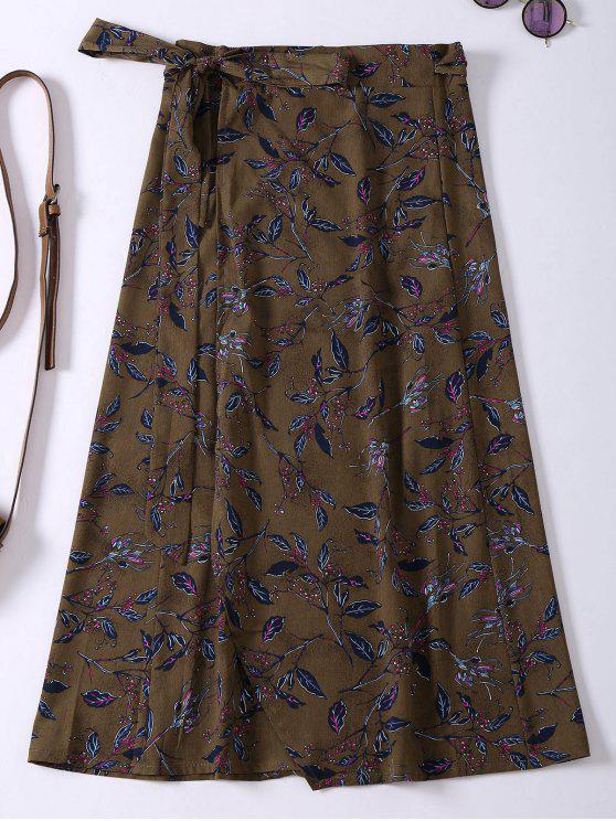 hot Flower Print High Slit Wrap Skirt - BROWN ONE SIZE