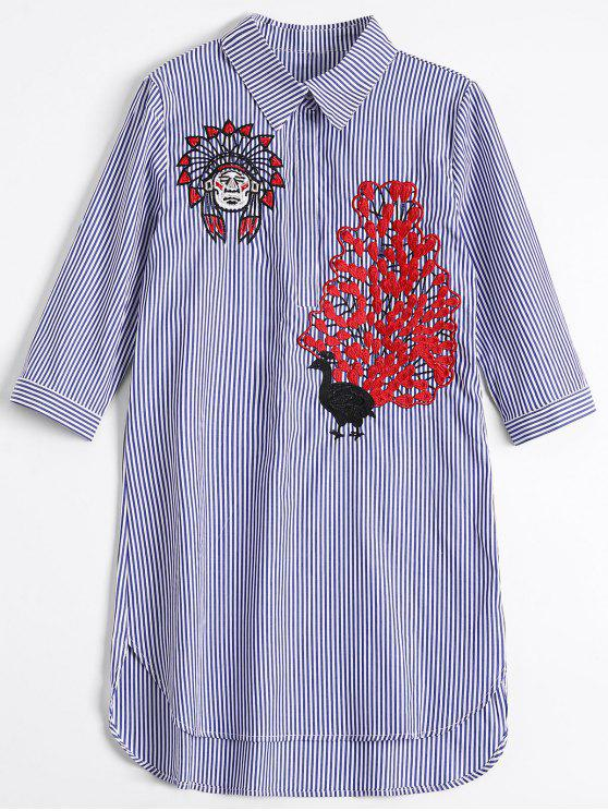 51b1b330896 29% OFF  2019 Peacock Embroidered High Low Shirt Dress In BLUE ...