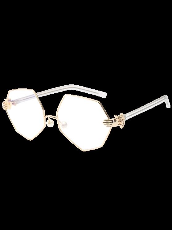 Geometrische Sonnenbrillen mit künstlichen Perlen an der  Nase - Weiß