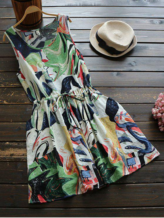 hot Sleeveless Abstract Print Drawstring Waist Dress - COLORMIX ONE SIZE