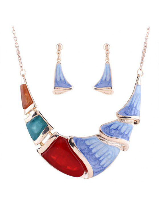 Conjunto de joyas resina de la vendimia - Dorado
