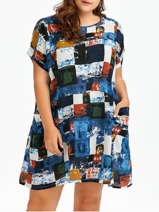 بالإضافة إلى حجم ملون منقوشة جيوب الجبهة تي شيرت اللباس - أزرق حجم واحد