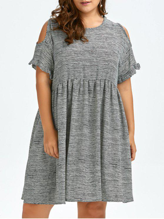Plus Size Stripe Cold Shoulder Smock Dress BLACK WHITE