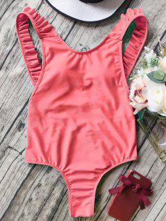 Bañador En Una Pieza De Tirantes Con Volantes Sin Espalda - Naranja Rosa S