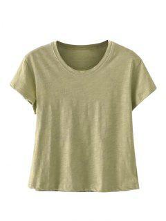 Mezcla De Algodón Cosechado Camiseta - Guisante Verde
