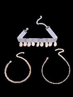 Rhinestoned Conch Velvet Choker Set Collier - Or