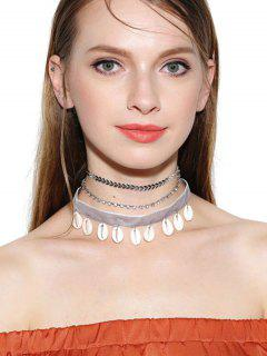 Rhinestoned Conch Velvet Choker Necklace Set - Silver