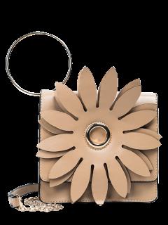 Metal Ring Petal Crossbody Bag - Khaki