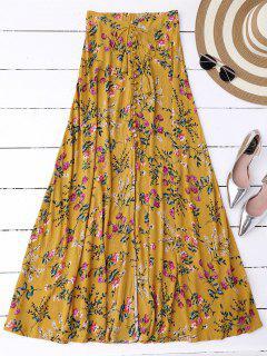 Maxi Falda Floral Con Abertura Lateral Alta - Jengibre S