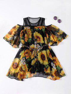 Sunflower Cold Shoulder Flowing Dress - Black Xl
