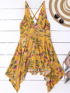 Tiny Floral Plunging Neck Romper - Yellow S