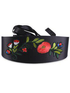 Chinoiserie Flowers Embroidered High Waist Corset Belt - Black