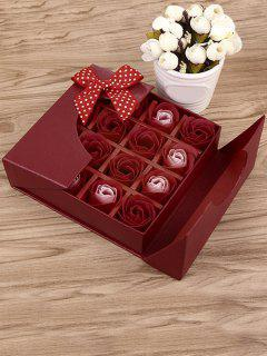 1 Box 16 Grids Artificial Soap Rose Bowknot Mother's Day Gift - Bright Red