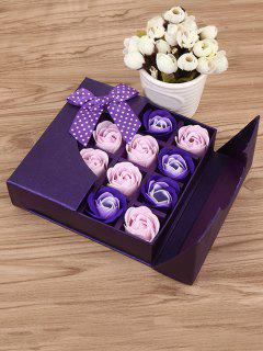 1 Box 16 Grids Artificial Soap Rose Bowknot Mother's Day Gift - Violet