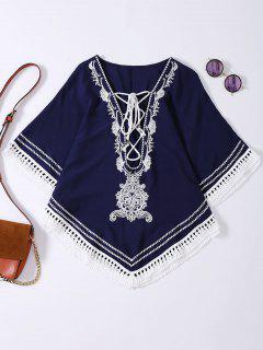Embroidered Lace Up Batwing Sleeve Top - Purplish Blue