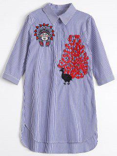 Vestido De La Camisa Del Pavo Real Bordado Alto Bajo - Raya Azul M