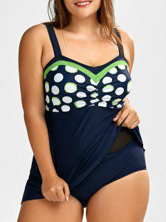 Plus Size Polka Dot One-Piece Swimsuit - Purplish Blue 5xl