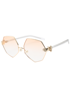Faux Pearl Nose Pad Geometric Sunglasses - Pearl Light Pink