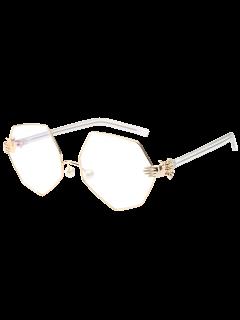 Imitación De La Perla De La Nariz Pad Gafas De Sol Geométricas - Blanco