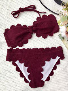 Scalloped Bandeau Bathing Suit - Burgundy S