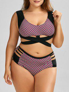Wrap High Waist Print  Plus Size Cutout Bikini - Black 5xl