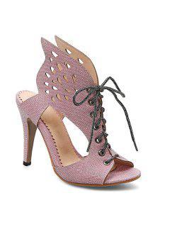 Wings Stiletto Heel Slippers - Pink 39
