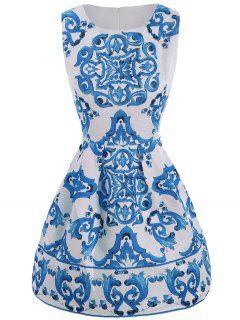 Sleeveless Short Dress With Print - Blue M