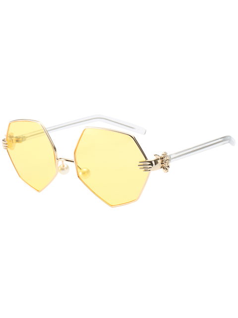 fashion Faux Pearl Nose Pad Geometric Sunglasses - YELLOW  Mobile