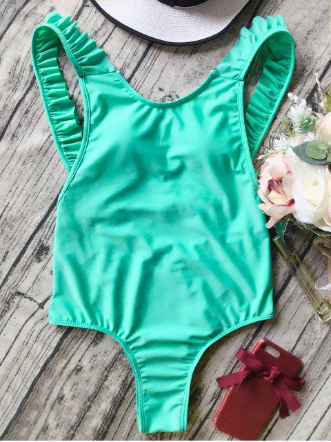 chic Open Back Ruffle Strap One Piece Swimsuit - GREEN L Mobile