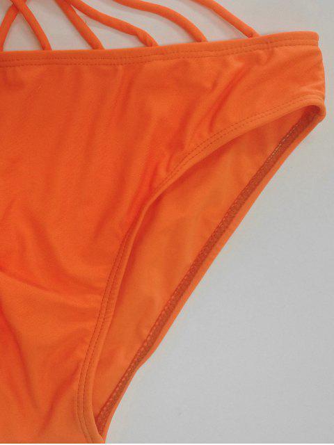 Solide Couleur Lace Up One Piece Maillots de bain - Orange S Mobile