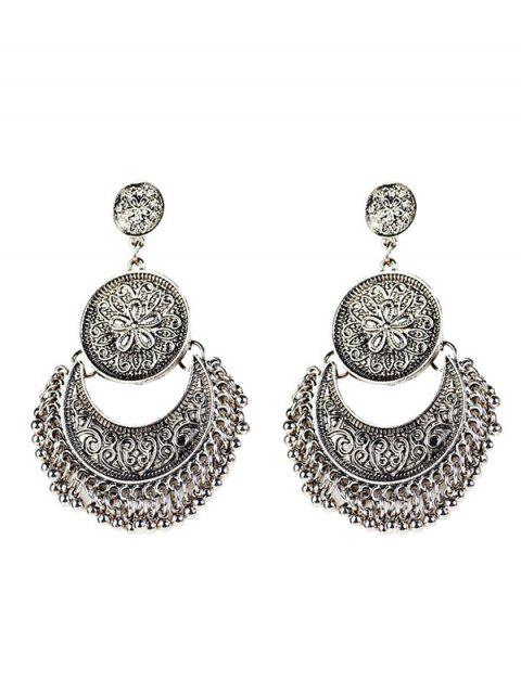 unique Vintage Engraved Flower Beads Moon Earrings - SILVER  Mobile