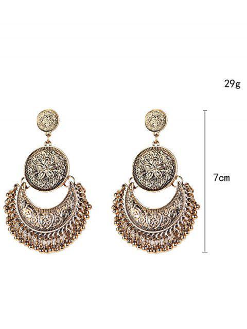 vintage Boucles d'oreilles avec pendentifs gravés en forme de fleurs et lunes ornées  de perle à style - Or  Mobile