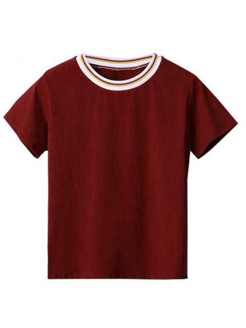 sale Rainbow Panel Layering Tee - WINE RED M Mobile