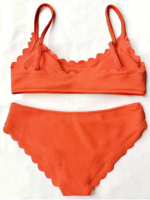 sale Scalloped Bralette Bikini Set - ORANGE M Mobile