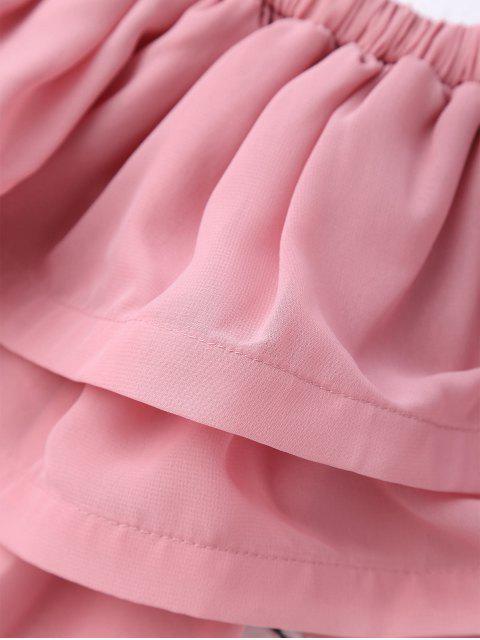fancy Ruffled Off Shoulder Chiffon Dress - PINK L Mobile
