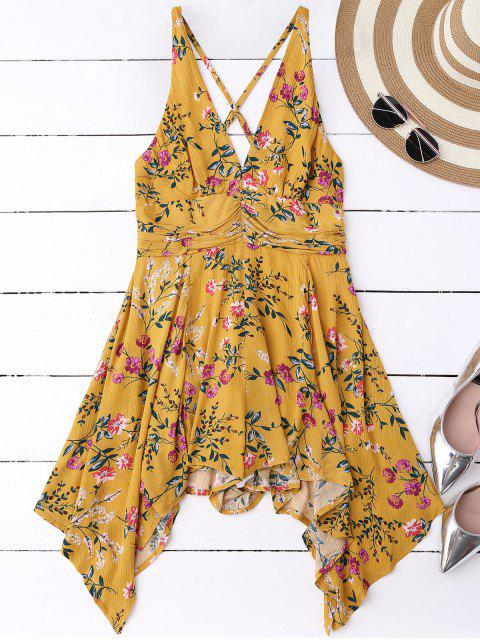 womens Tiny Floral Plunging Neck Romper - YELLOW S Mobile