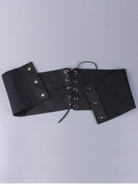shop Lace Up Button Embroidered High Waist Corset Belt -   Mobile