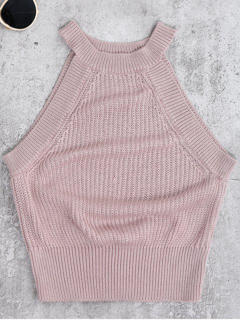 fancy Armhole Knitted Top - PALE PINKISH GREY M Mobile