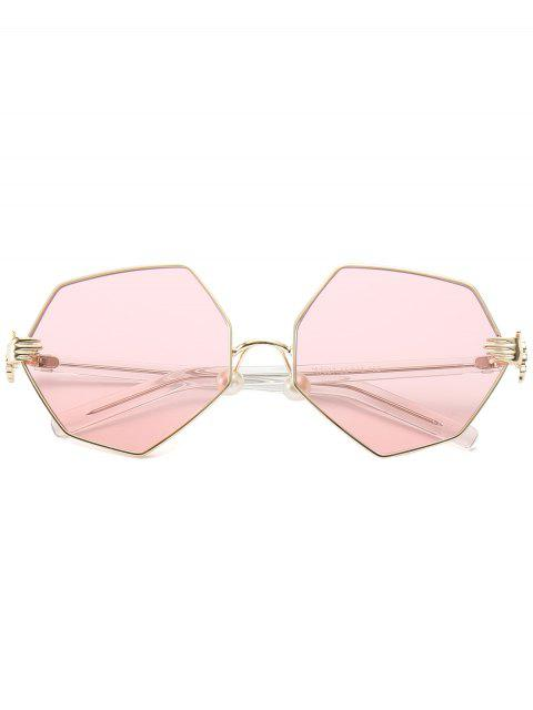 trendy Faux Pearl Nose Pad Geometric Sunglasses - PINK  Mobile