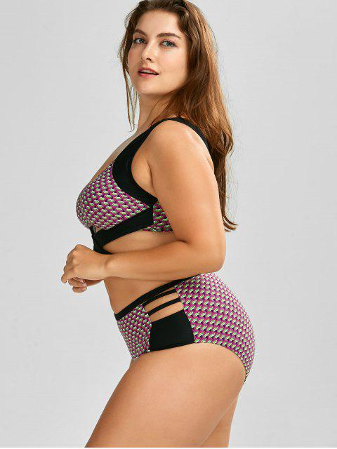 women Wrap High Waist Print  Plus Size Cutout Bikini - BLACK 2XL Mobile