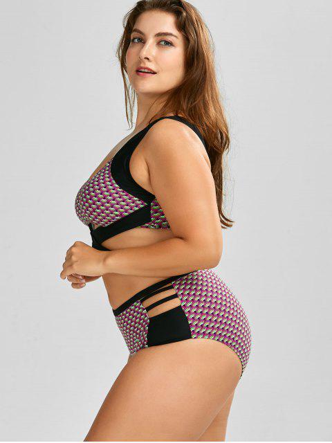 ladies Wrap High Waist Print  Plus Size Cutout Bikini - BLACK 4XL Mobile