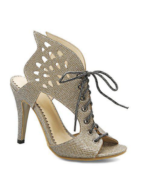 Alas del estilete de zapatillas de tacón - Dorado 39 Mobile