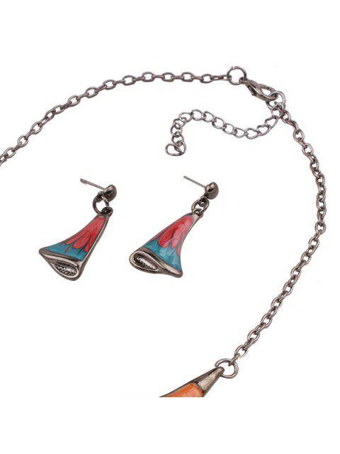 womens Vintage Resin Jewelry Set - GUN METAL  Mobile