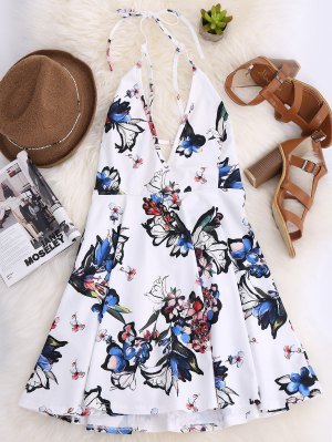 Thin Strap Floral Skater Sun Dress - White 2xl