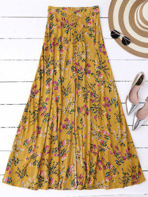 Maxi Falda Floral Con Abertura Lateral Alta - Jengibre L