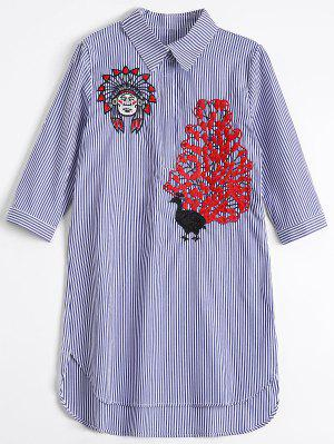 Peacock Embroidered High Low Shirt Dress - Blue Stripe M