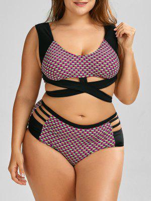Wrap High Waist Print  Plus Size Cutout Bikini