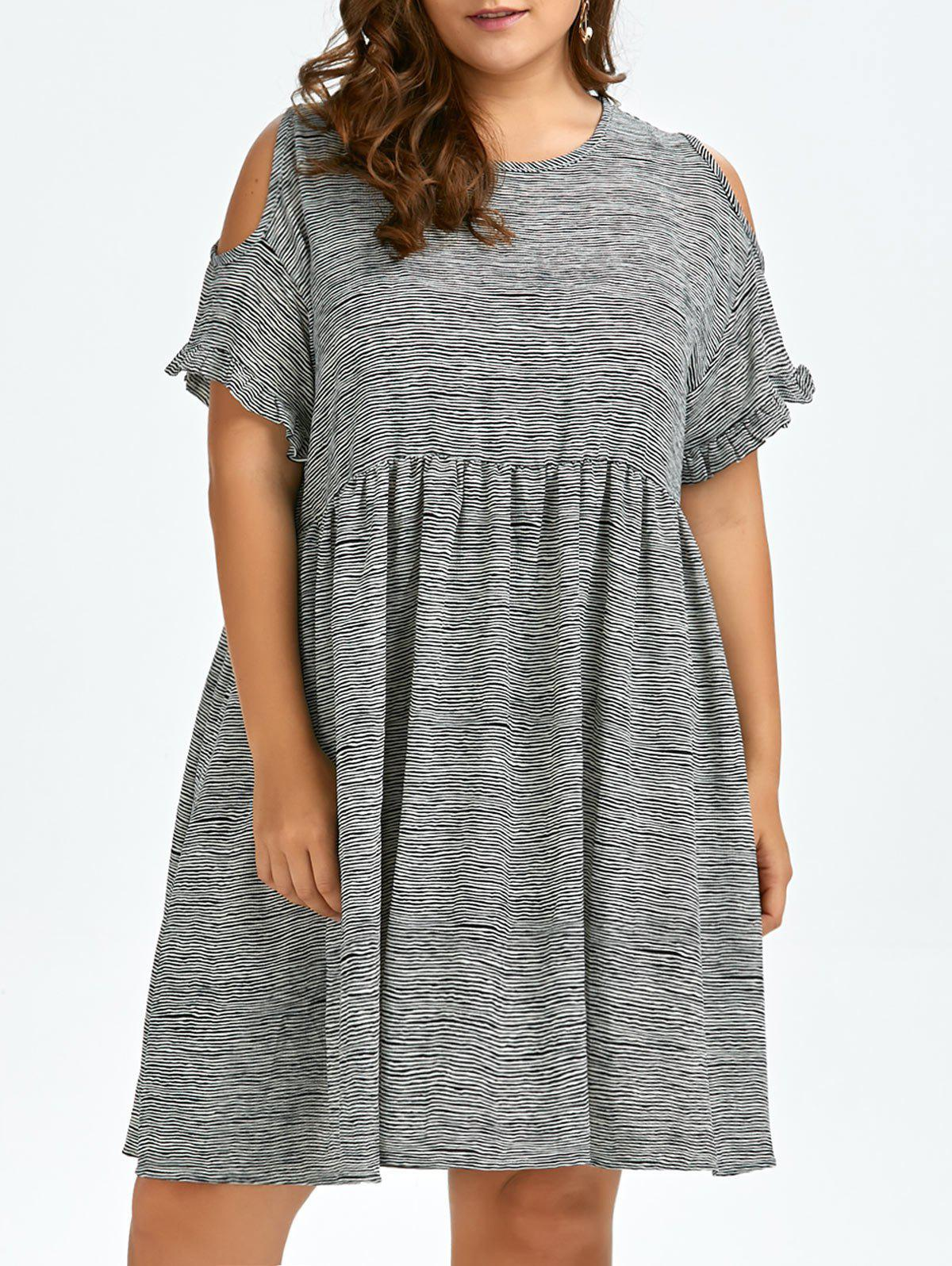 Plus Size Stripe Cold Shoulder Smock Dress